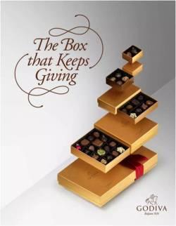 一层一层的剥开你的心  Godiva美国的圣诞礼盒装很讨巧