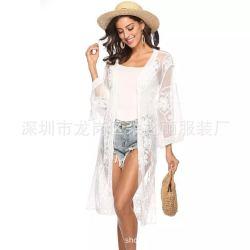 欧美蕾丝披肩罩衫 波西米亚沙滩长裙
