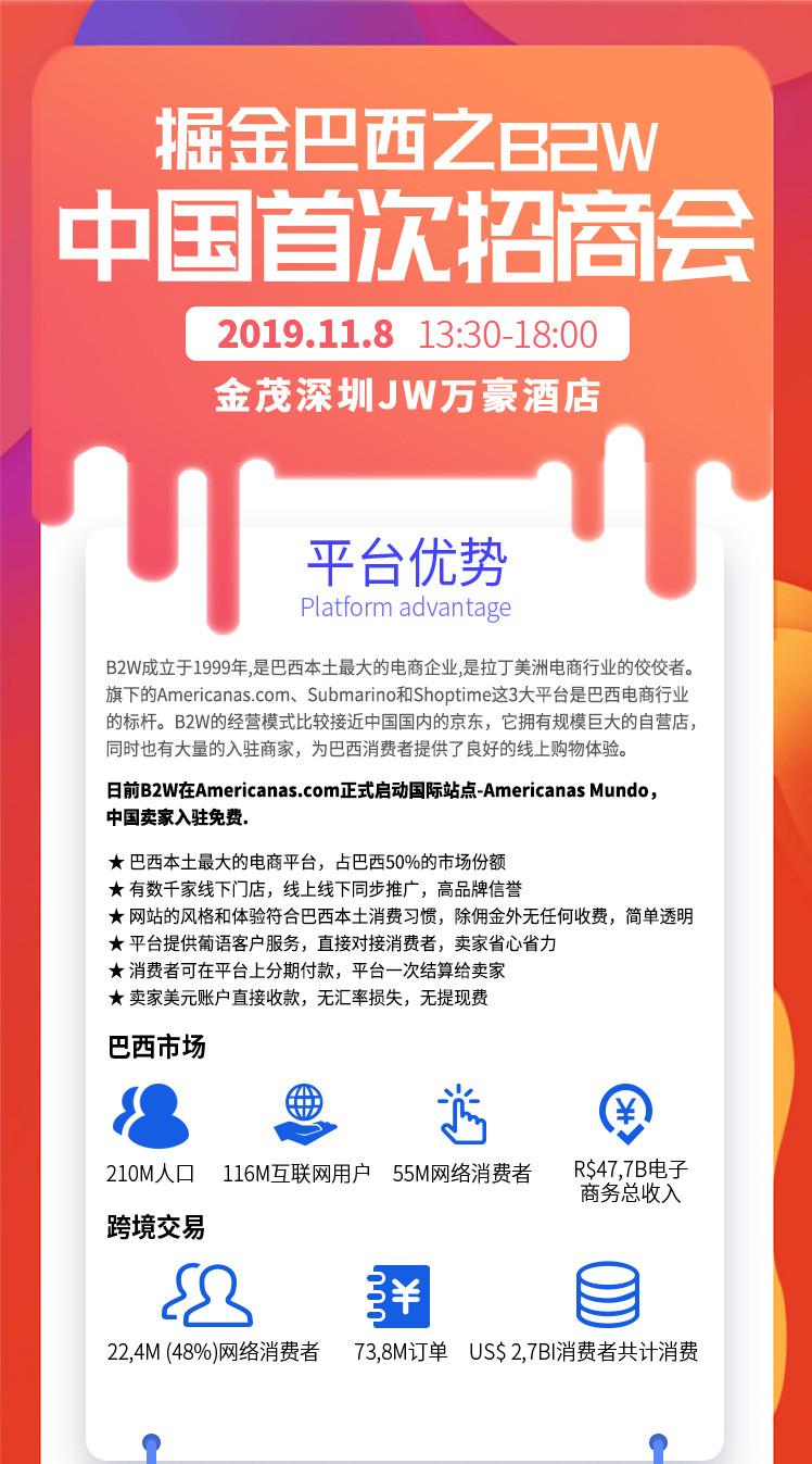 掘金巴西之B2W中国首次招商会